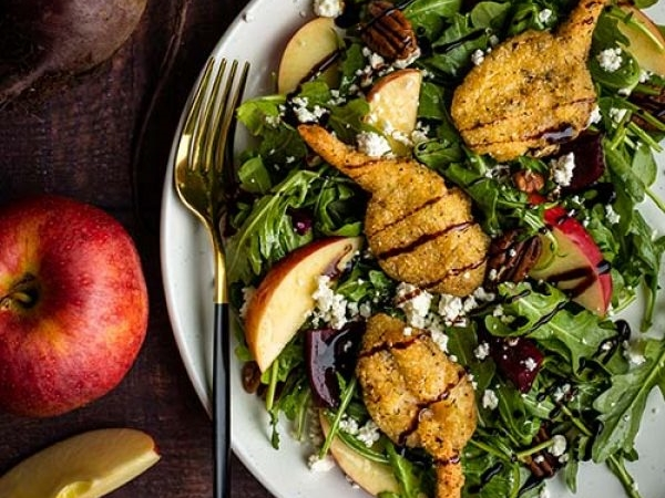 Apple and Beet Salad with Pan Sear Garlic and Herb Shrimp