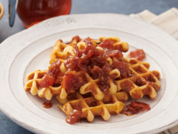 Buttermilk Waffle Bites with Bacon-Maple Marmalade