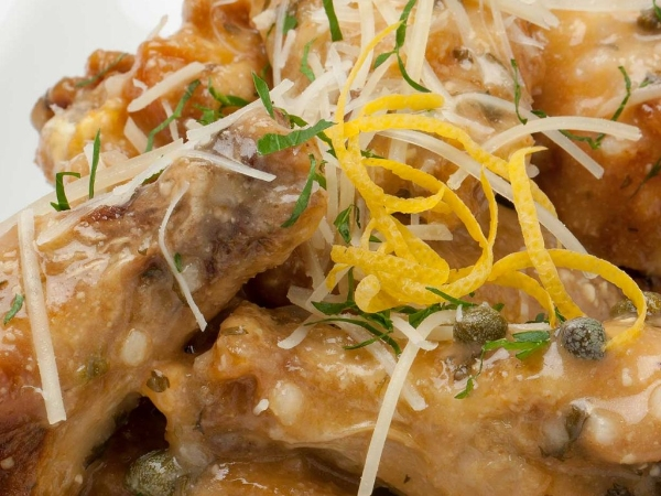 Piccata Wings With Shredded Parmesan and Capers