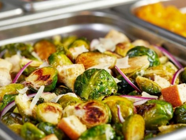 Roasted Brussels Sprouts Caesar Salad with Crunch Time Pancetta