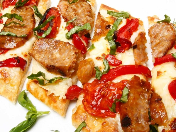 Roasted Tomato And Italian Sausage Flat Bread