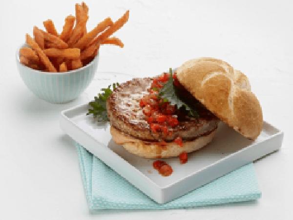 White Turkey Burger with Cranberry Chili Chutney
