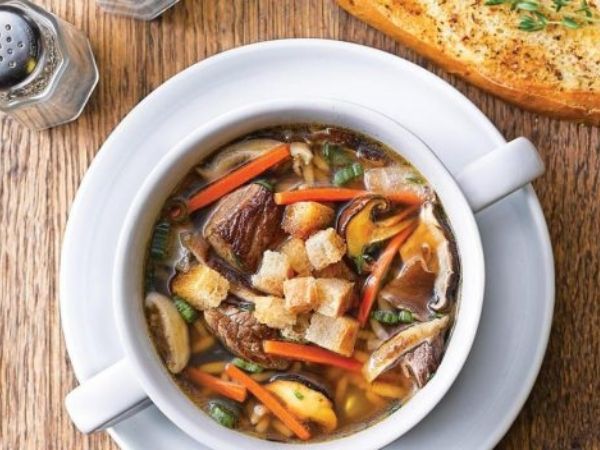 Wild Mushroom with Wild Rice and Braised Beef Soup