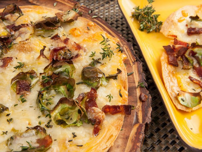 "Cheddar, Brussel Sprout and Bacon ""Pizza"""