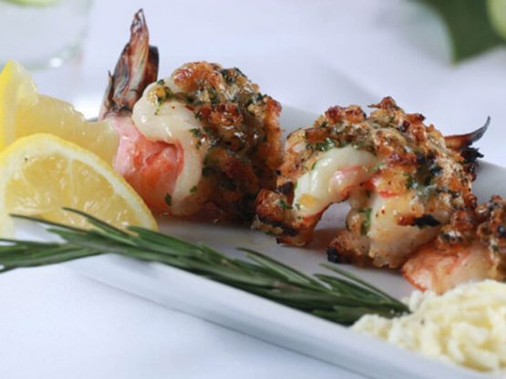Grilled Shrimp Stuffed With Aged Cheddar